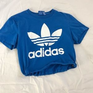 Blue adidas originals drawstring crop tee